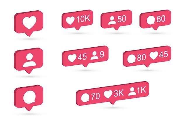 Набор иконок уведомлений instagram. 3d-дизайн с плоскими цветами. векторная иллюстрация.