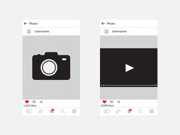 Instagram photo frame and video frame. template for social media. interface concept.