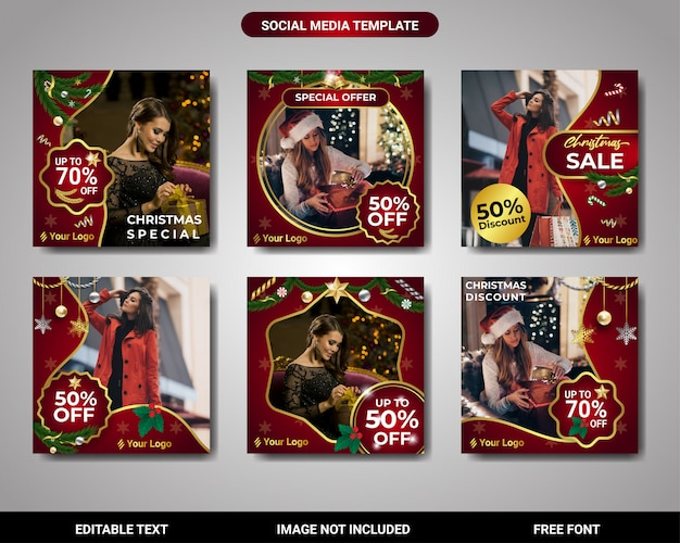 Instagram post christmas promotion and discount sale square banner template