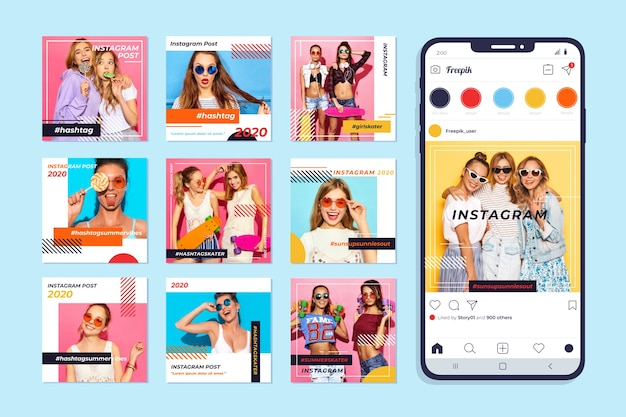 Instagram post collection on mobile phone