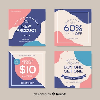 Instagram post collection template Premium Vector
