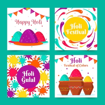 Instagram post collection with holi festival design