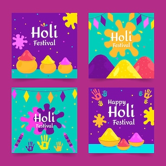 Instagram post collection with holi festival event