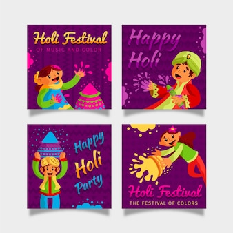 Instagram post collection with holi festival theme