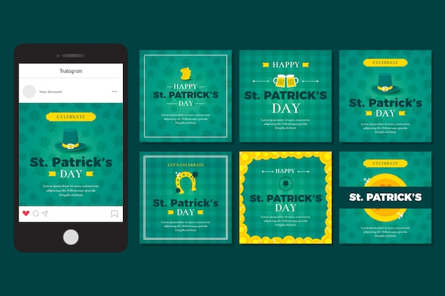 Instagram post collection with st. patricks day design
