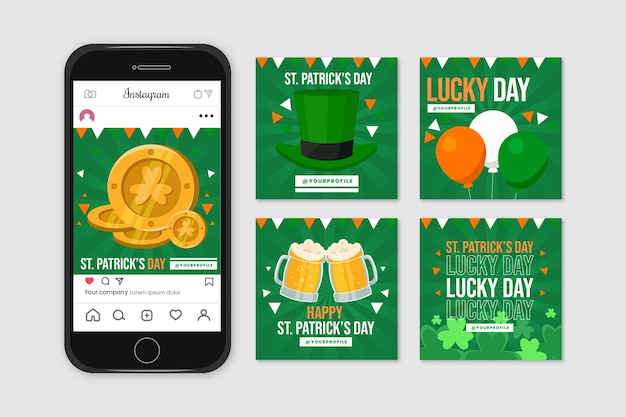 Instagram post collection with st. patricks day theme