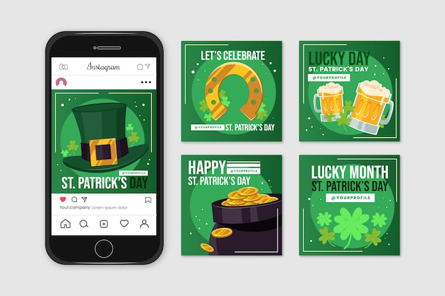 Instagram post collection with st. patricks day