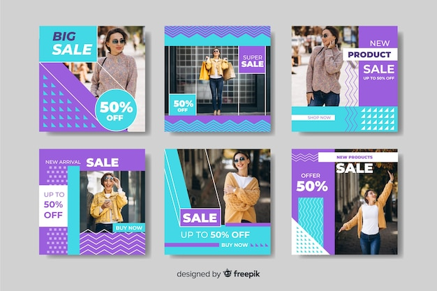 Instagram post collection of women fashion banners