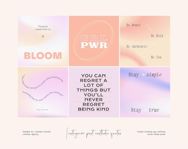 Instagram 게시물 그라데이션 미적 따옴표 템플릿 컬렉션
