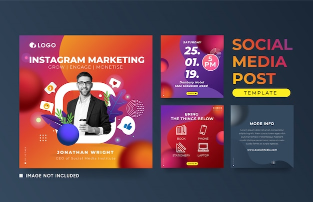 Instagram post marketing event advertising square banner template