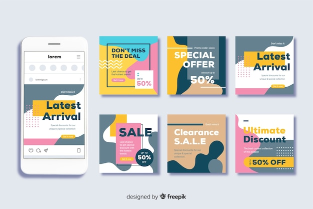 Instagram post set template for sales