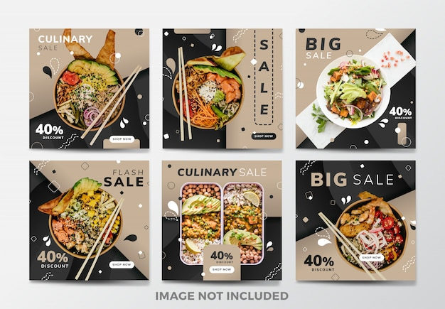 Instagram post or square banner. food and restaurant theme