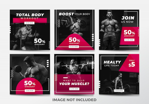 Instagram post or square banner. gym and fitness theme