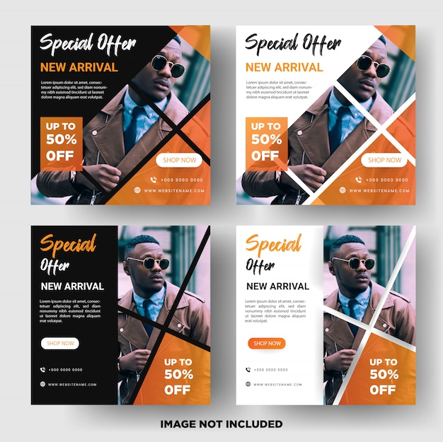 Instagram post or square banner template. men's fashion sales