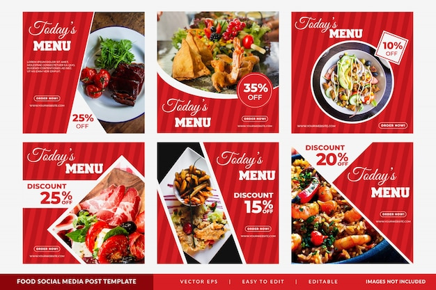 Instagram post or square banner with food theme for restaurants