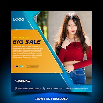 Instagram post template for fashion big sale, square size