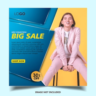 Instagram post template for fashion store, big sale, square size