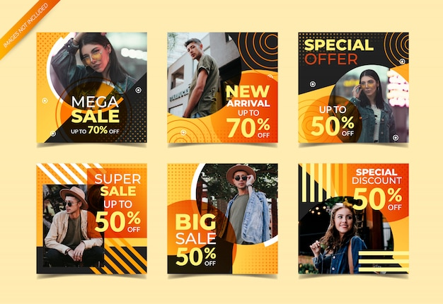 Instagram post template or square banner set, fashion sales