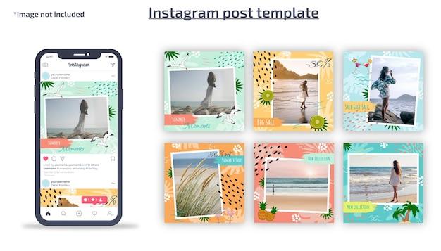 Instagramの投稿テンプレート夏のテンプレート