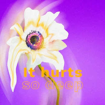 Instagram post 템플릿 벡터, 비통한 인용문이 있는 꽃 환각 추상 디자인