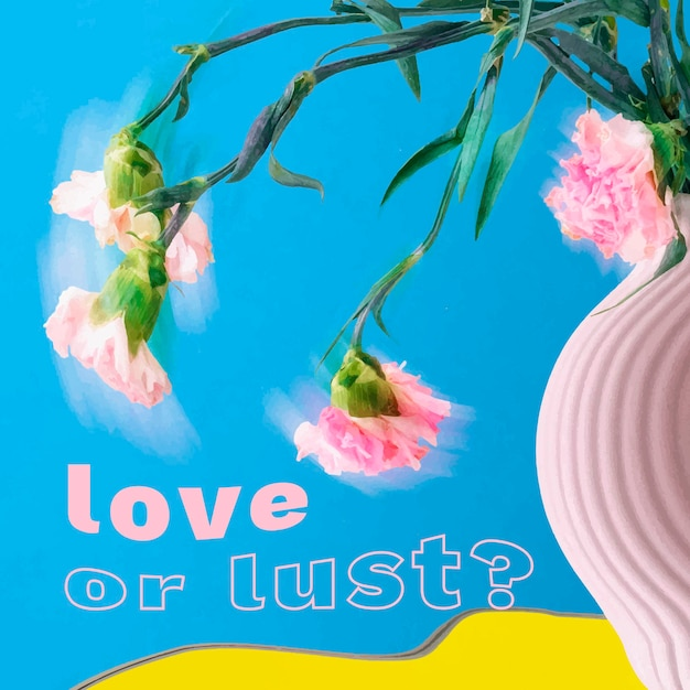 Instagram post 템플릿 벡터, 낭만적인 인용문이 있는 꽃 환각 추상 디자인