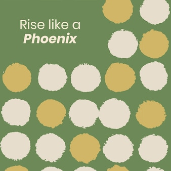 Instagram post template vector, vintage textile pattern, rise like a phoenix quote