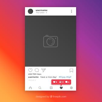Исходный шаблон instagram с уведомлениями