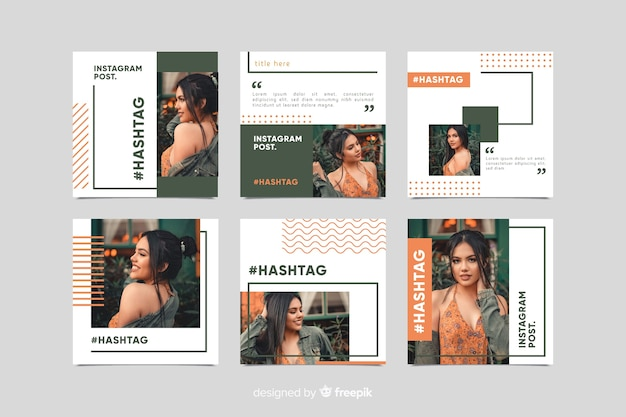 Instagram post template with various collections