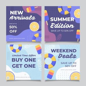 Пост в instagram с шаблоном летней распродажи