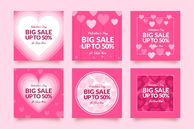 Instagram post with valentines day sales concept