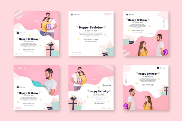 Instagram posts collection for birthday celebration