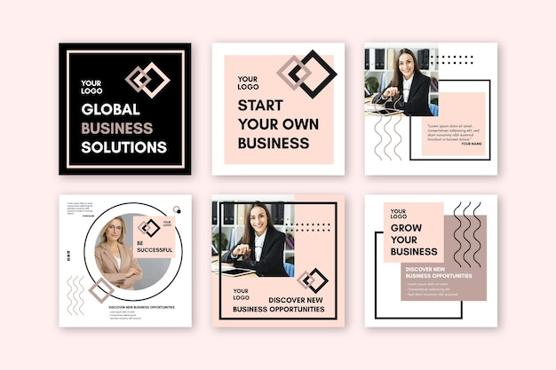 Instagram posts collection for businesswoman