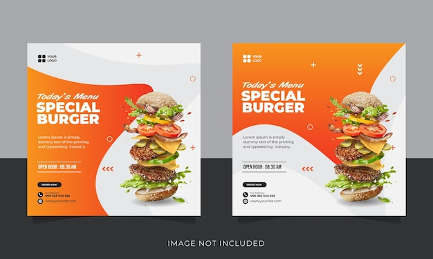 Коллекция постов в инстаграм для бургерного ресторана