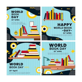 世界図書の日のお祝いのためのinstagramの投稿コレクション