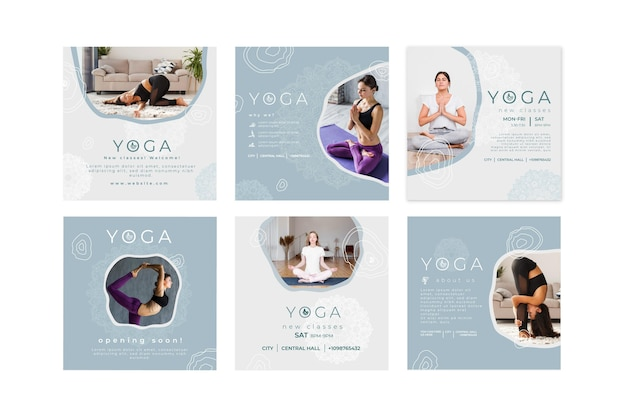 Instagram posts collection for yoga practicing