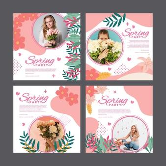 여자와 꽃과 함께하는 봄 파티를위한 인스 타 그램 포스트 팩