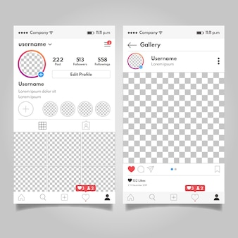 Instagram profile interface template concept