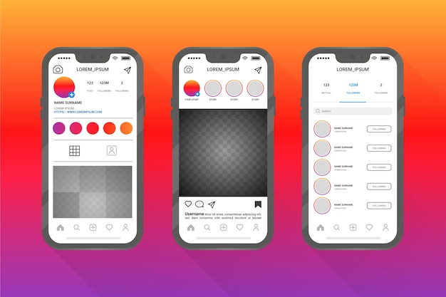 Instagram 프로필 인터페이스 템플릿 스타일
