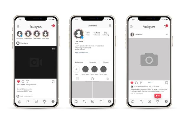 携帯電話でのinstagramプロファイルインターフェイステンプレート