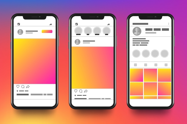 Instagram profile interface template with mobile phone