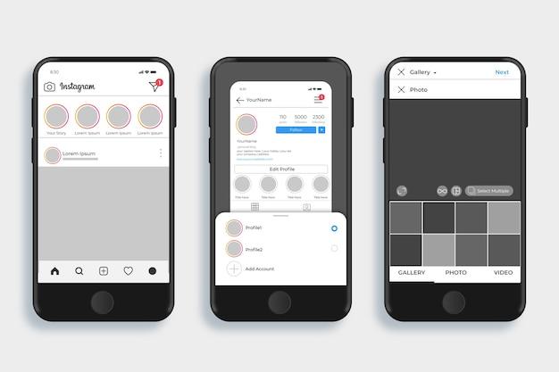 휴대폰으로 instagram 프로필 인터페이스 템플릿
