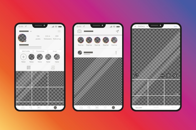 Instagram profile interface template with phone design