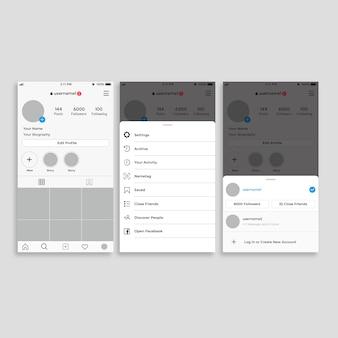 Instagram profile interface template
