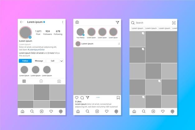 Modello di interfaccia del profilo instagram