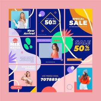 Modelli di feed di puzzle di instagram per le vendite
