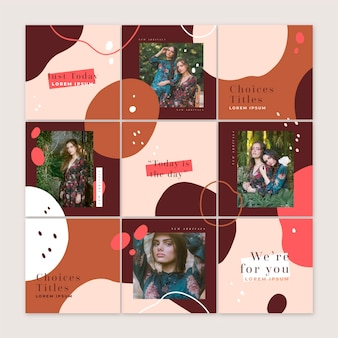 Instagram puzzle feed with nine different templates