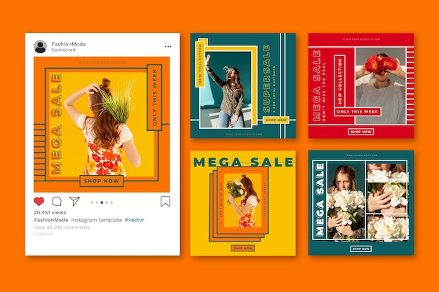 Instagram sale post pack template