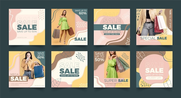 Instagram sale posts collection with photo