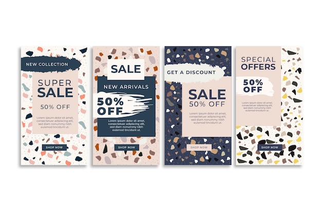Instagram sale stories collection in terrazzo and hand drawn style