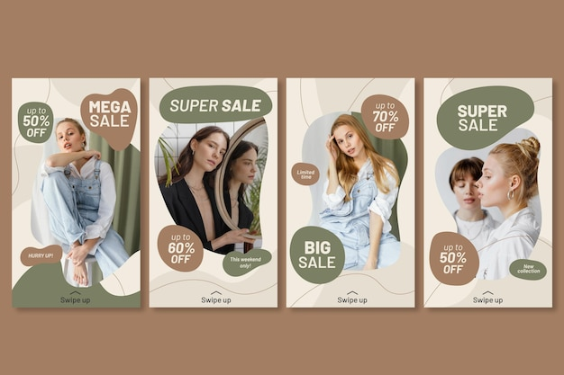 Instagram sale stories collection with photo